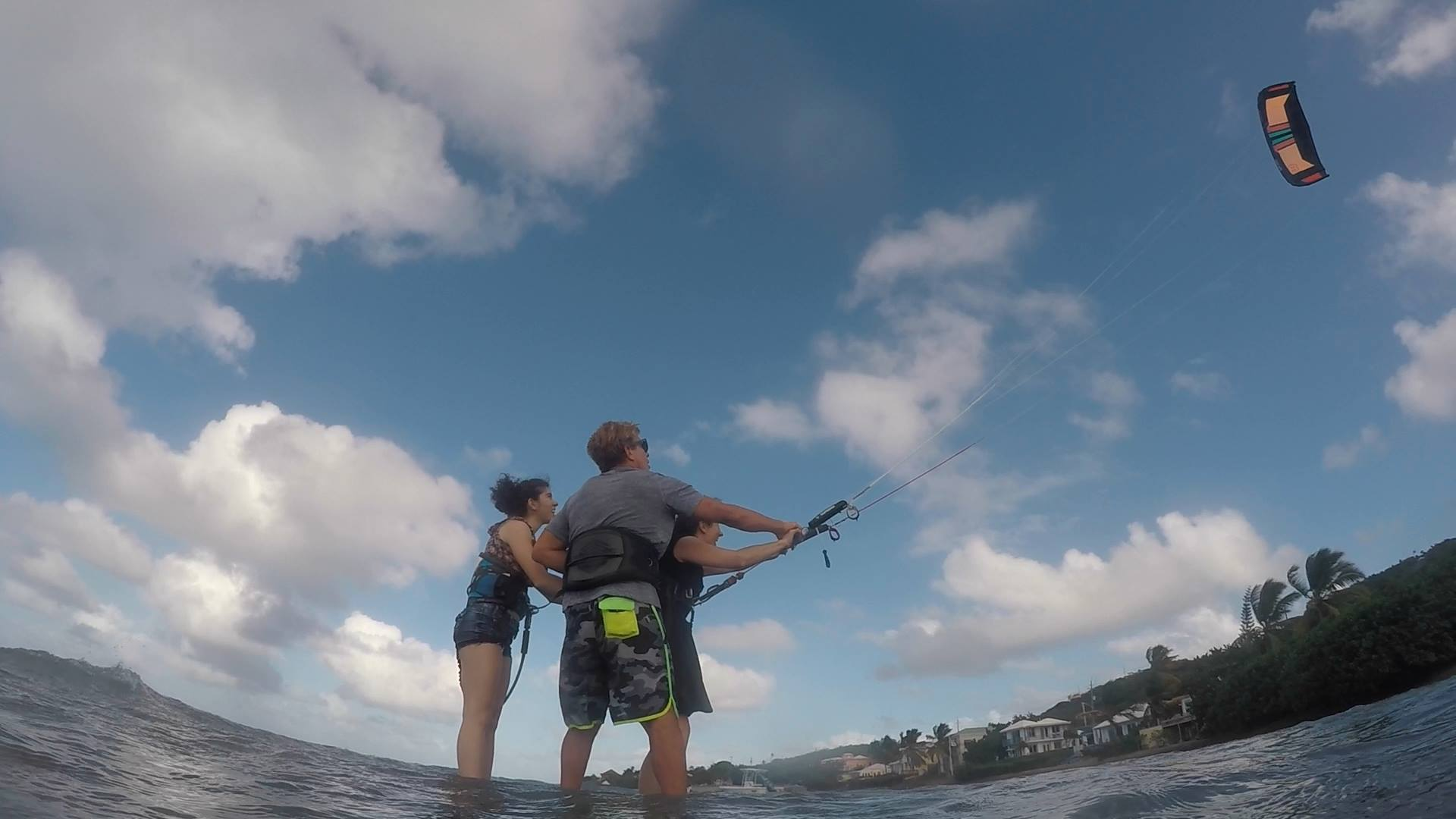 Kite St. Croix teaching two women how to kiteboard.