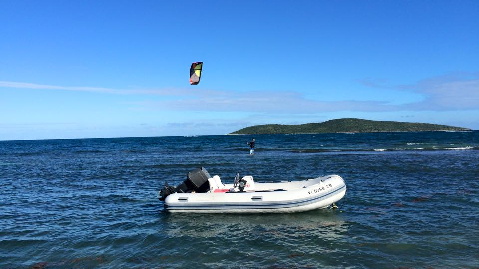 Slingshot kiteboarding flag flying in the us virgin islands.