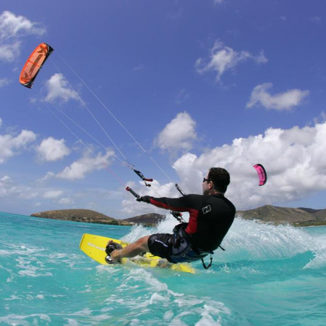 Kiteboarder Taking kitesurfing lessons at Kite St Croix.
